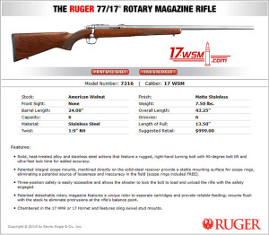 New Ruger 77/17 - 17WSM Specs