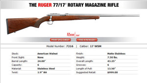 New Ruger 77/17 – 17WSM Bolt Action Rifle Announced